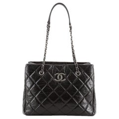 Chanel CC Chain Shopping Tote Quilted Glazed Calfskin Medium