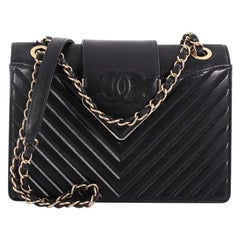 Chanel CC Chain Top Flap Bag Chevron Sheepskin Small