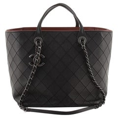 Chanel CC Charm Chain Shopping Tote Quilted Calfskin Large