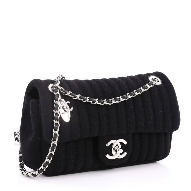 d6348cead5ce Black Chanel CC Charm Vertical Quilt Jersey Small Flap Bag For Sale