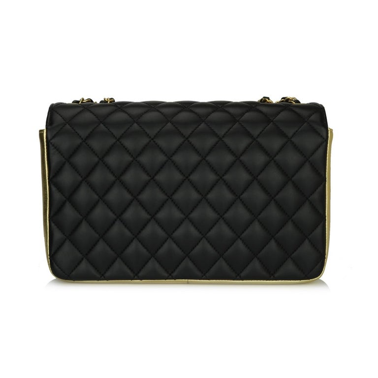 Women's or Men's CHANEL CC Chic Flap Bag Black and Gold Lambskin with Brushed Gold Hardware 2019