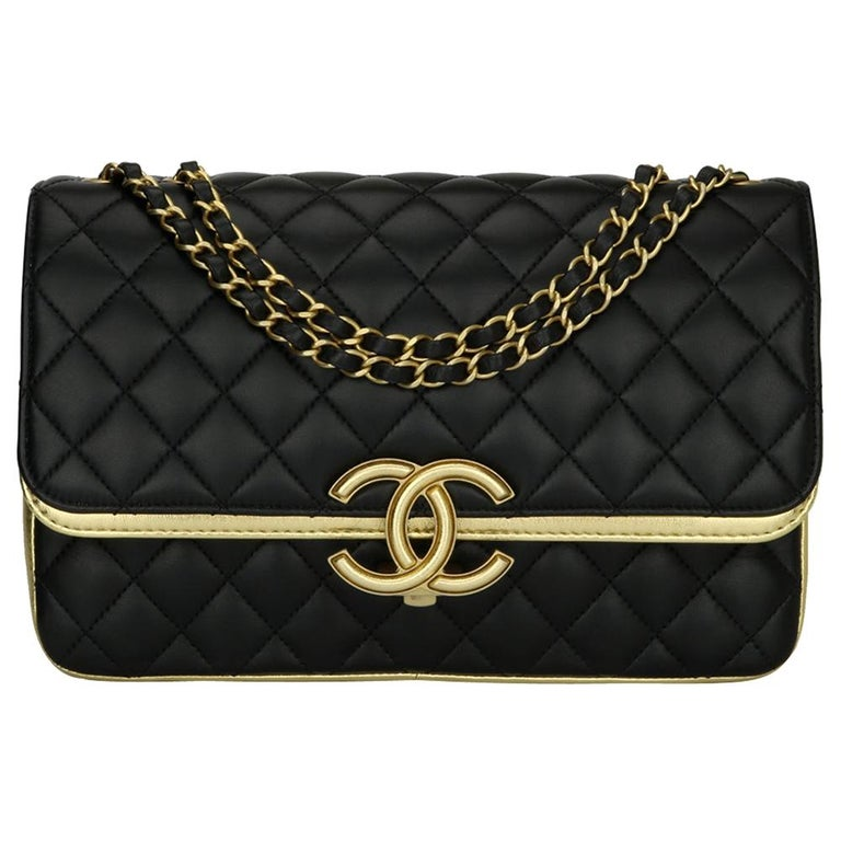CHANEL CC Chic Flap Bag Black and Gold Lambskin with Brushed Gold Hardware 2019