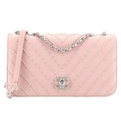 Chanel CC Clasp Flap Bag Studded Chevron Calfskin Medium