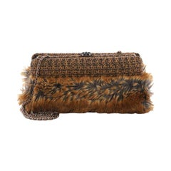 Chanel CC Clasp Frame Clutch Fur and Tweed Small