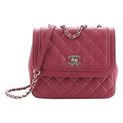 Round Edge CC Flap Bag Quilted Lambskin Small