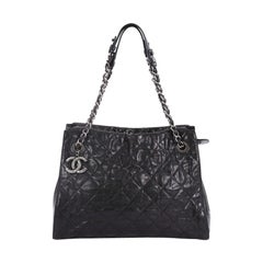 Chanel CC Crave Shoulder Bag Quilted Glazed Caviar Medium