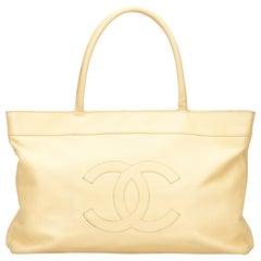 Chanel CC Cream Caviar Leather Tote Bag one size