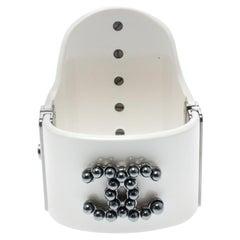 Chanel CC Cream Resin Faux Pearls Embedded Asymmetric Cuff Bracelet