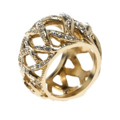 Chanel CC Criss Cross Crystal Gold Tone Band Ring Size 55