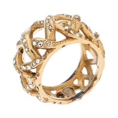 Chanel CC Criss Cross Crystal Gold Tone Band Ring Size 56