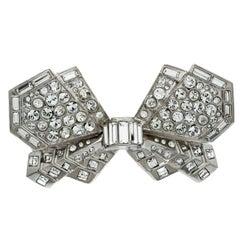Chanel CC Crystal Bow Silver Tone Barrette Hair Clip
