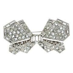 Chanel CC Crystal Bow Silver Tone Brooch