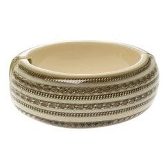 Chanel CC Crystal Chain Cream Resin Wide Oval Cuff Bracelet