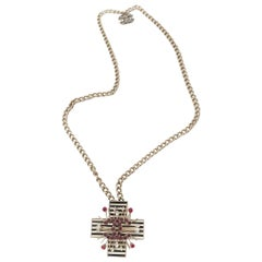 Chanel CC Crystal Cross Necklace 2005 Collection