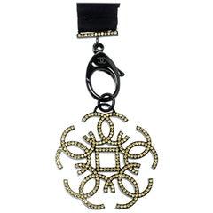 Chanel CC Crystal Embellished Black Ribbon Necklace