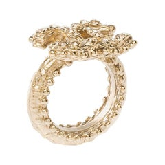 Chanel CC Crystal Gold Tone Ring Size 55