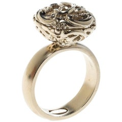 Chanel CC Crystal Open Work Gold Tone Cocktail Ring Size 52