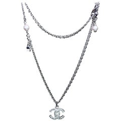 Chanel CC Crystal Pearl Pendant Necklace