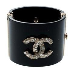 Chanel CC Crystal Studded Black Gold Tone Wide Cuff Bracelet