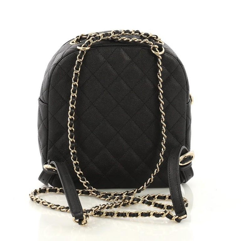 Chanel Cc Day Backpack Quilted Caviar Mini At 1stdibs