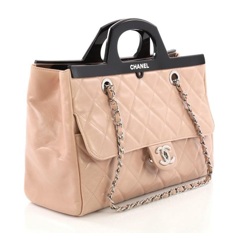 204b7363412f Beige Chanel CC Delivery Tote Quilted Glazed Calfskin Small For Sale