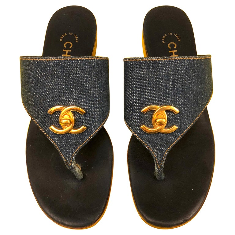 "Chanel ""CC"" denim sandals For Sale"