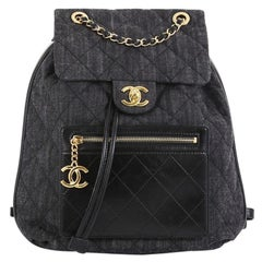 Chanel CC Drawstring Backpack Quilted Denim with Calfskin Medium