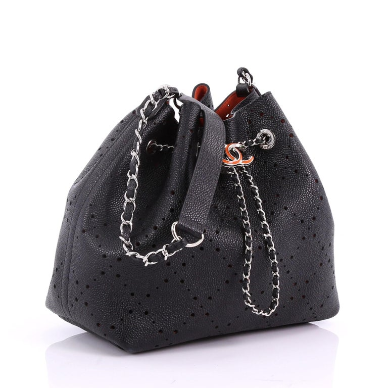 Black Chanel CC Drawstring Bucket Bag Perforated Caviar Medium For Sale 6e49fb7d71