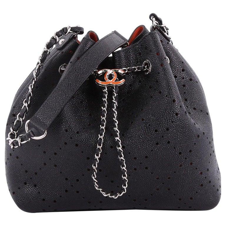 Chanel CC Drawstring Bucket Bag Perforated Caviar Medium at 1stdibs 13574641e4