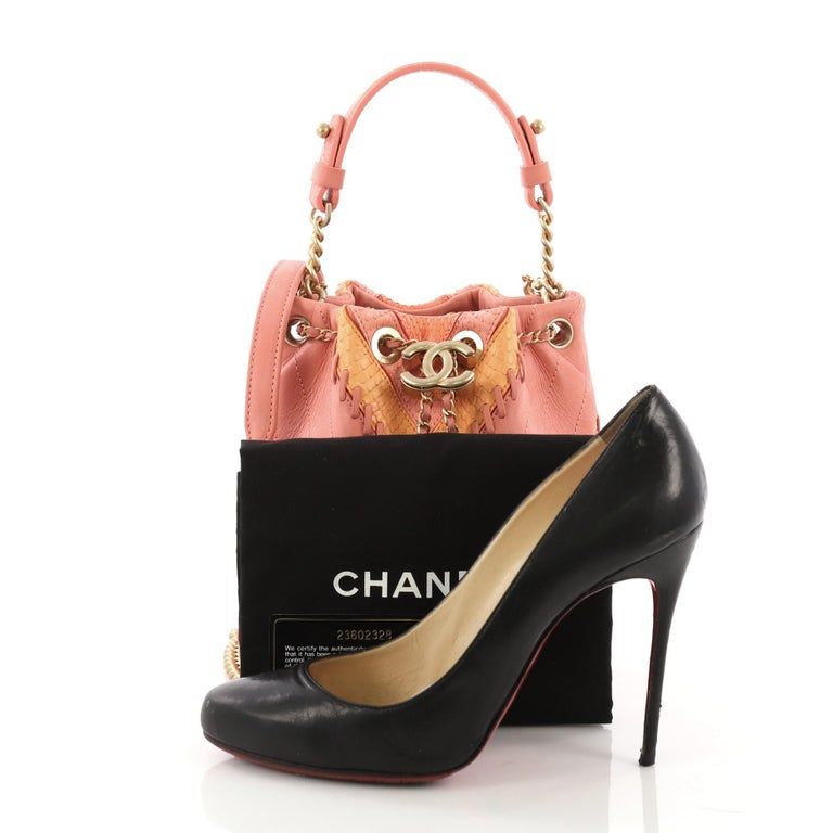2c6569a0d019 This Chanel CC Drawstring Bucket Bag Whipstitch Chevron Leather and Python  Small