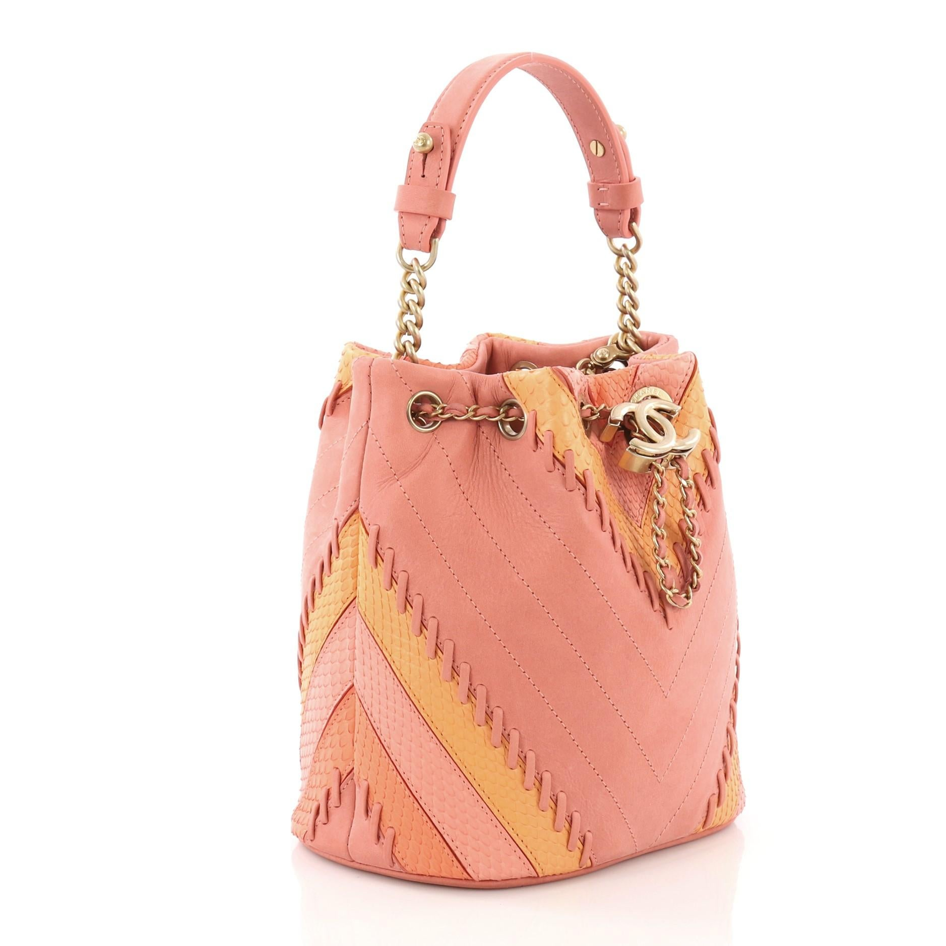 a674e9ae159e Chanel CC Drawstring Bucket Bag Whipstitch Chevron Leather and Python Small  at 1stdibs