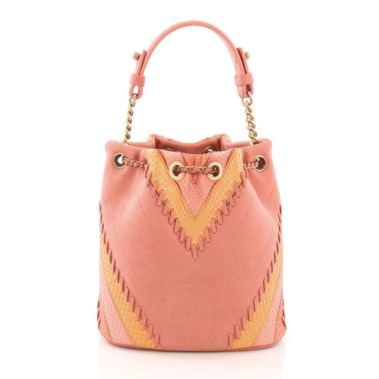 ac4c526e17f3 Women s Chanel CC Drawstring Bucket Bag Whipstitch Chevron Leather and Python  Small For Sale