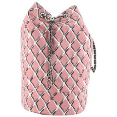 Chanel CC Drawstring Sling Backpack Printed Canvas Large
