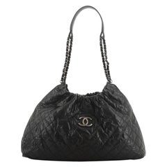Chanel CC Elastic Shoulder Bag Quilted Glazed Caviar Small