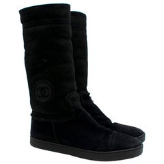 Chanel CC Embroidered Suede Shearling Lined Boots 40.5