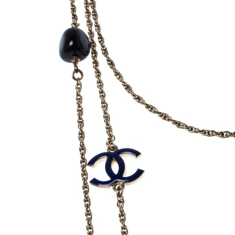 Chanel CC Enamel Bead Long Multi Layered Chain Link Station Necklace In Good Condition For Sale In Dubai, Al Qouz 2