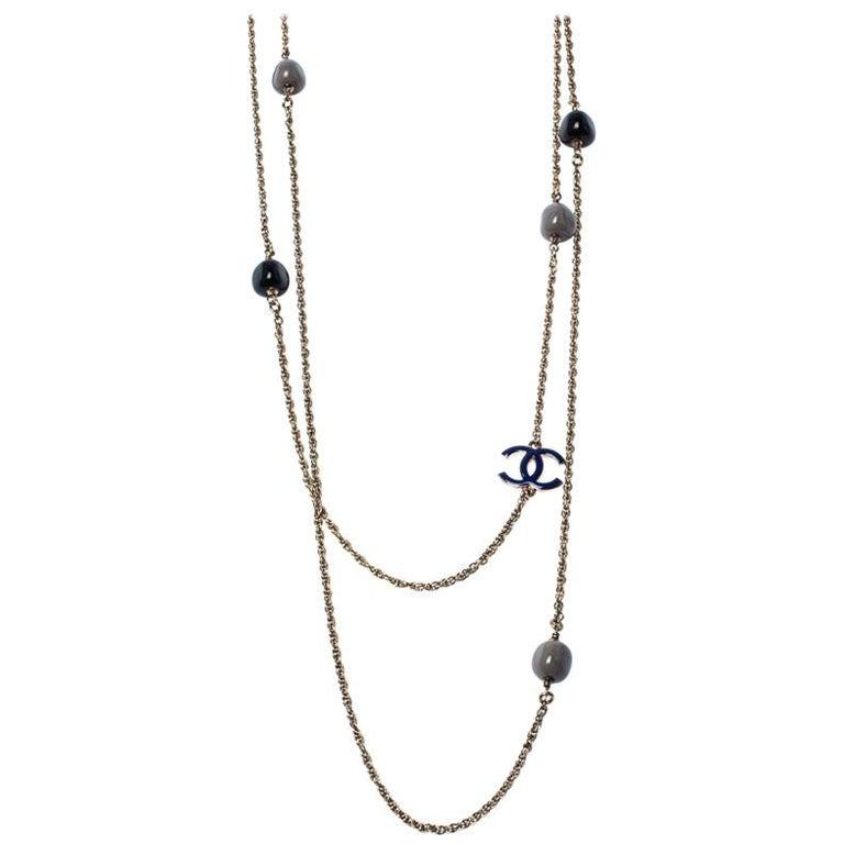 Chanel CC Enamel Bead Long Multi Layered Chain Link Station Necklace For Sale