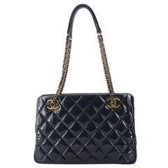 Chanel CC Eyelet Tote Quilted Patent Small