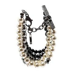 Chanel CC Faux Pearl Bead Gunmetal Tone Multi-strand Bracelet