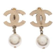 Chanel CC Faux Pearl Drop Clip On Earrings