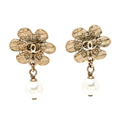 Chanel CC Faux Pearl Gold Tone Camellia Drop Earrings