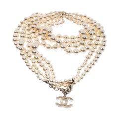 Chanel CC Faux Pearl Multi-strand Necklace