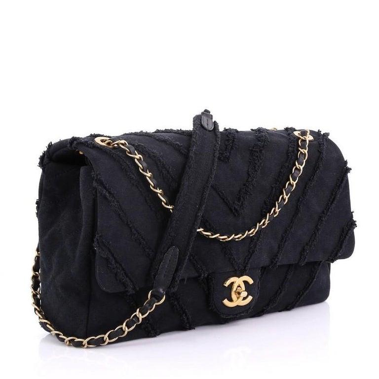 6bbf47c6036a Black Chanel CC Flap Bag Chevron Canvas Patchwork Maxi For Sale
