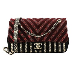 Chanel CC Flap Bag Chevron Velvet and Python Medium