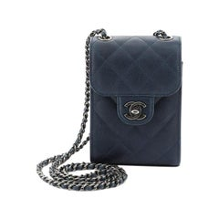 Chanel CC Flap Phone Holder Crossbody Bag Quilted Caviar