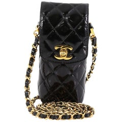 Chanel CC Flap Phone Holder Crossbody Bag Quilted Patent
