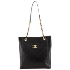 Chanel CC Front Pocket Shopping Tote Quilted Calfskin Small