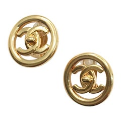 Chanel CC Gold Earrings