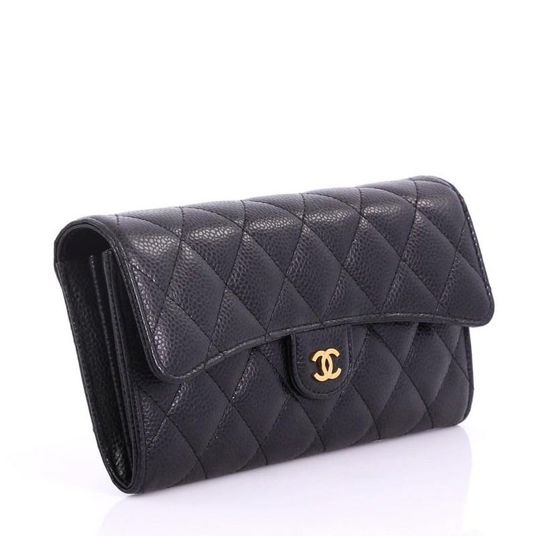 962e9bf4fd79 Black Chanel CC Gusset Classic Flap Wallet Quilted Caviar Long For Sale