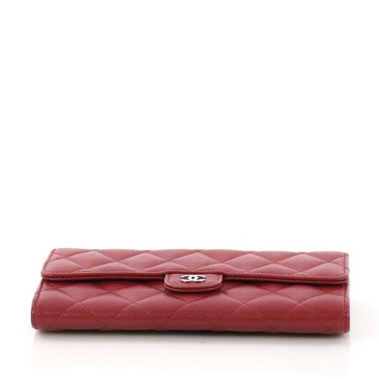 08c868e188d8 Women's or Men's Chanel CC Gusset Classic Flap Wallet Quilted Caviar Long  For Sale